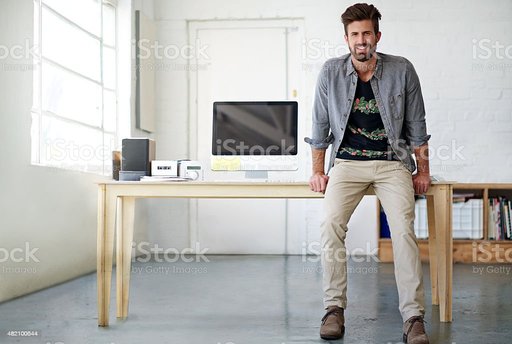 Holding his own in the business world stock photo