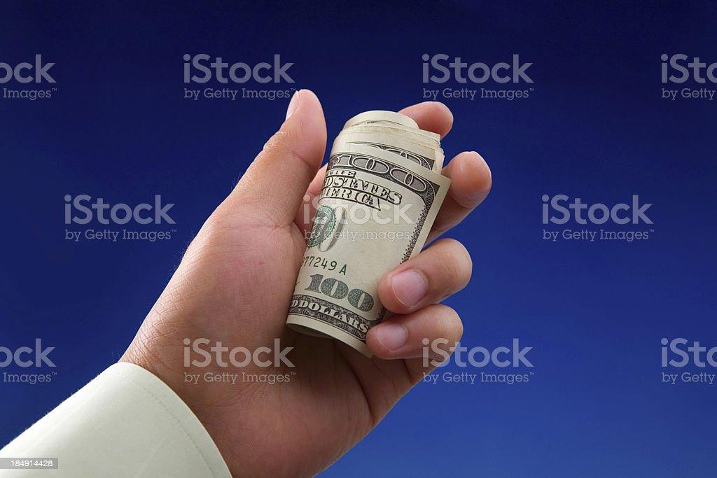 Holding Hundred Dollar Bills royalty-free stock photo