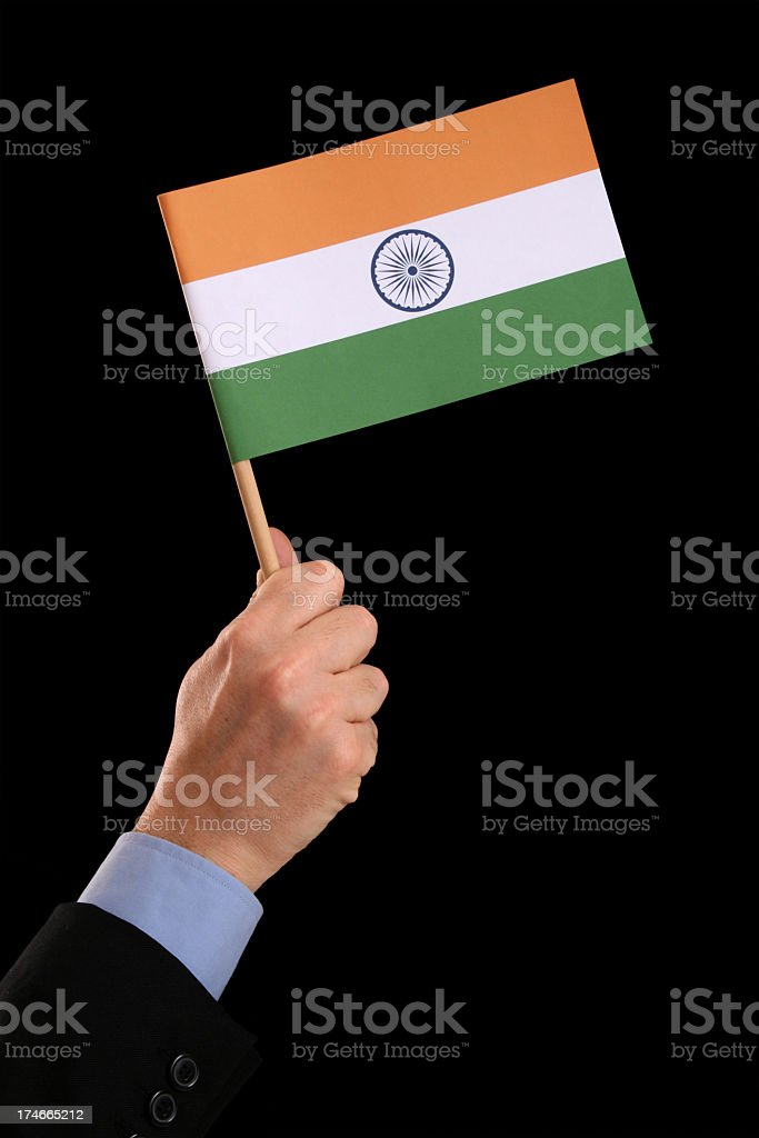Holding indian flag royalty-free stock photo