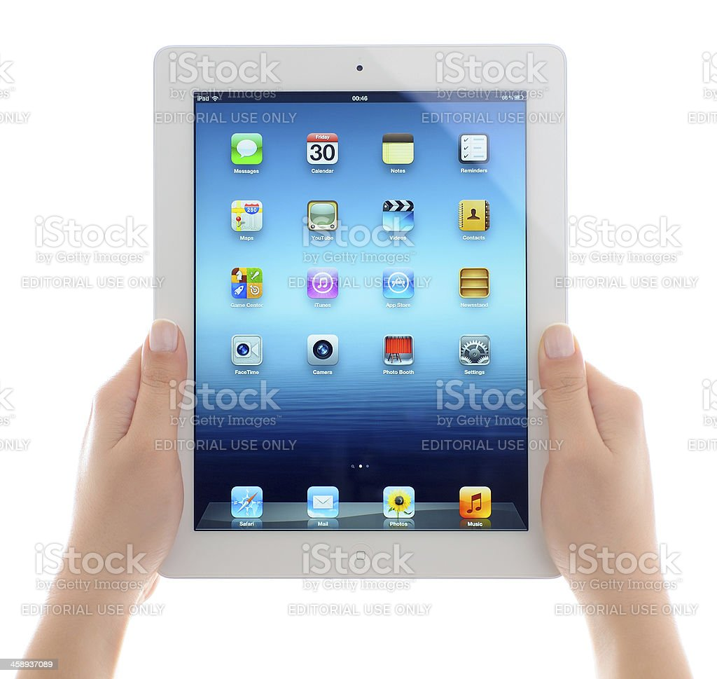 Holding iPad 3 royalty-free stock photo