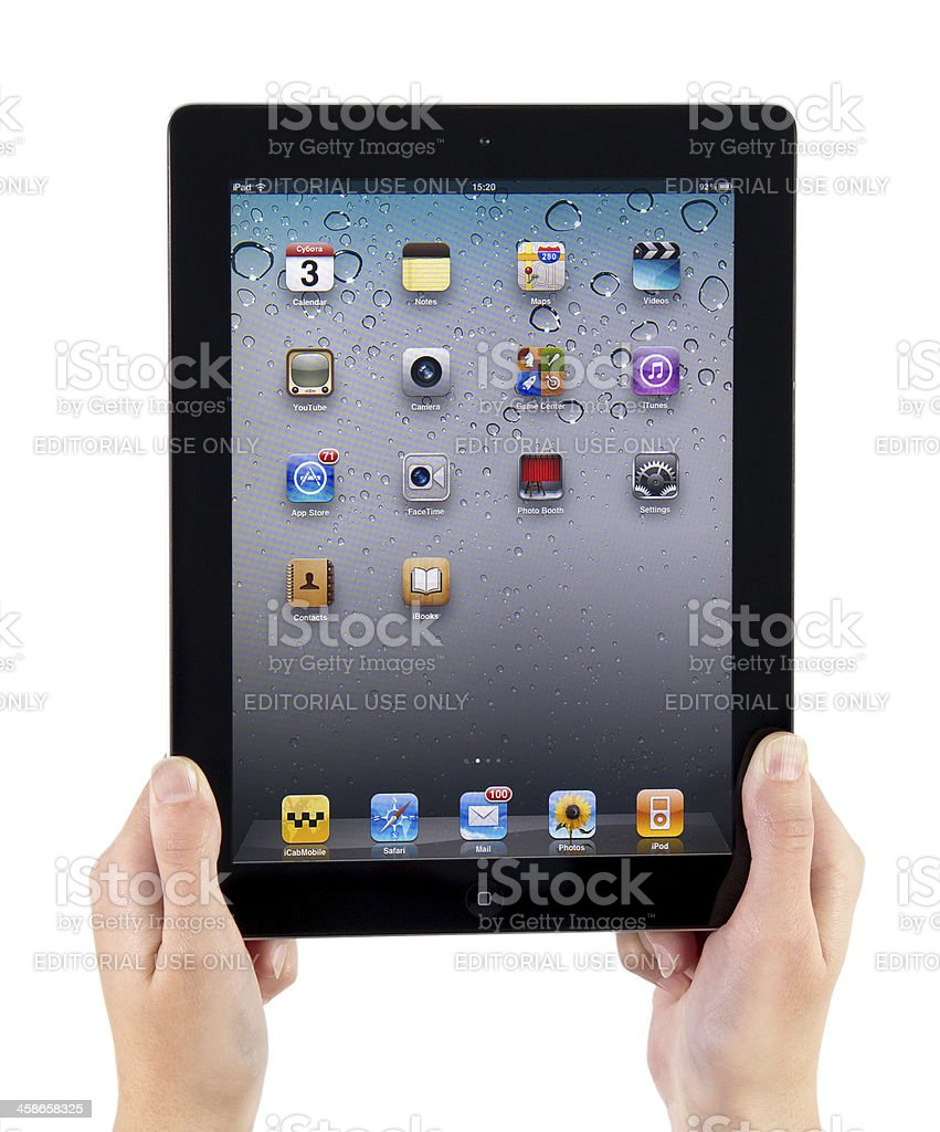 Holding iPad2 Vertical royalty-free stock photo