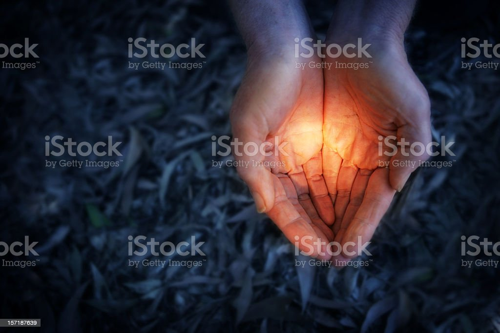Holding it.... stock photo