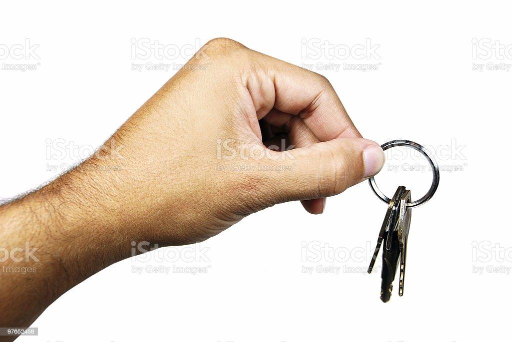 Holding Keys - clipping path stock photo