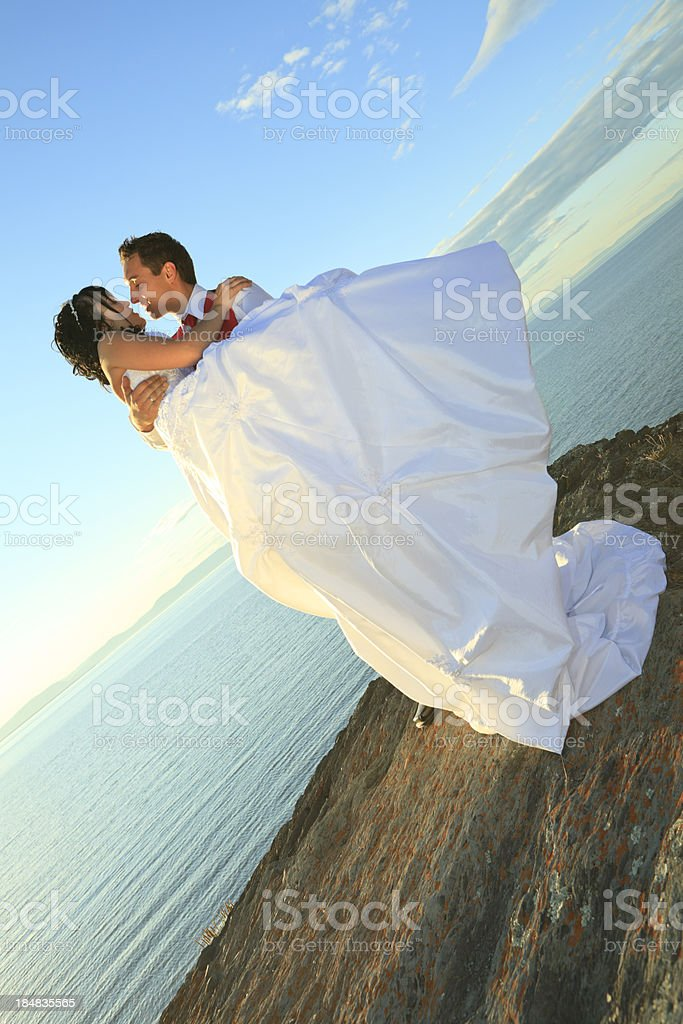 Holding Kiss Wedding Couple Vertical stock photo