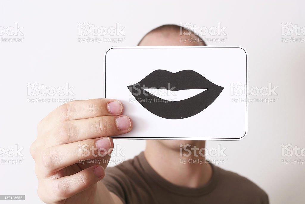 Holding lips royalty-free stock photo
