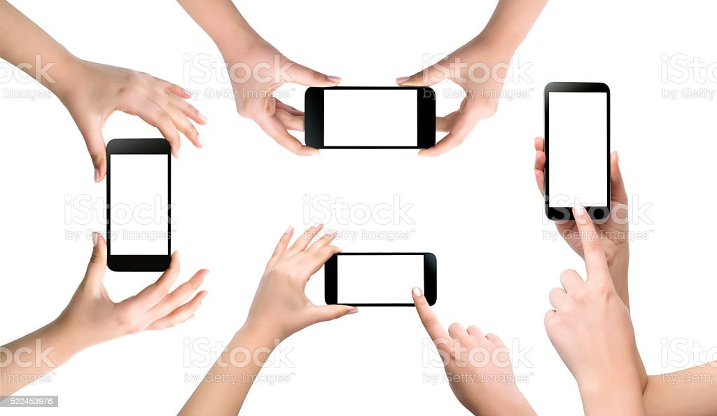holding mobile, isolated stock photo