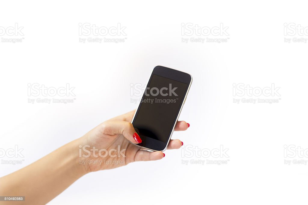 Holding mobile phone. stock photo