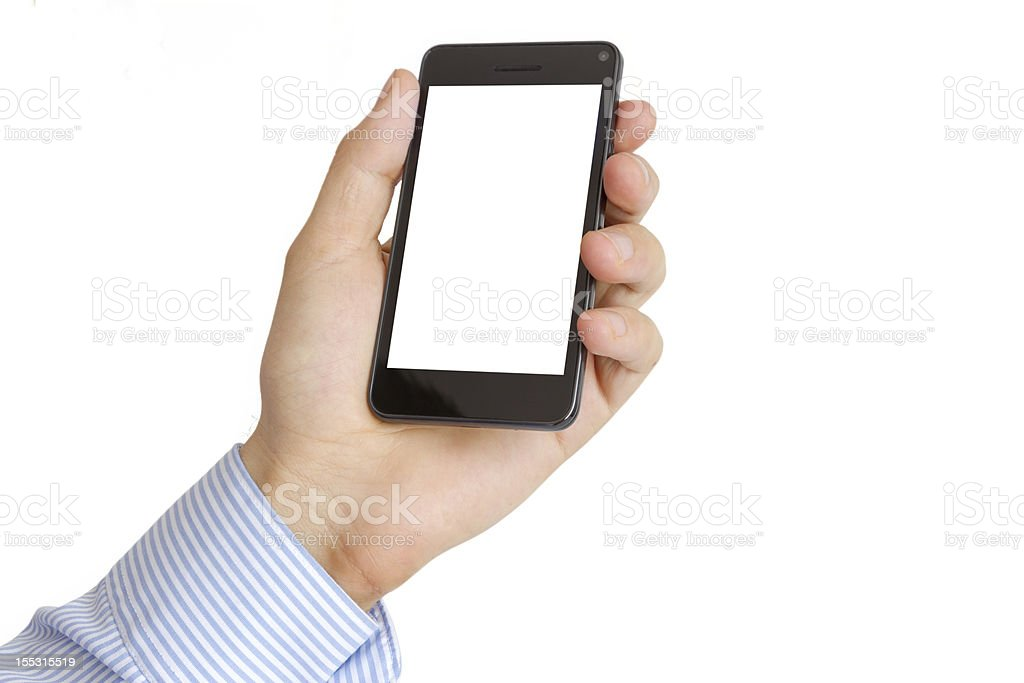 Holding Mobile Smart Phone In Hand royalty-free stock photo