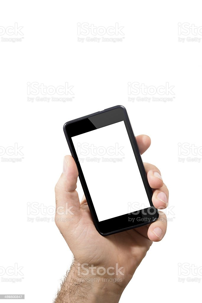 Holding mobile smartphone with blank screen stock photo