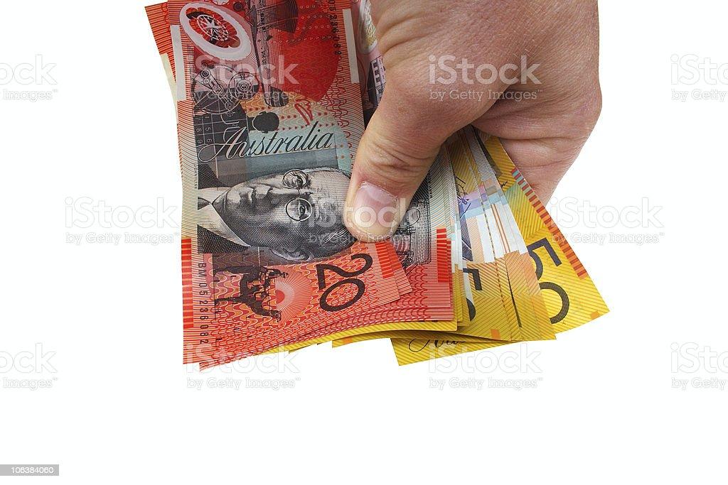 Holding money royalty-free stock photo