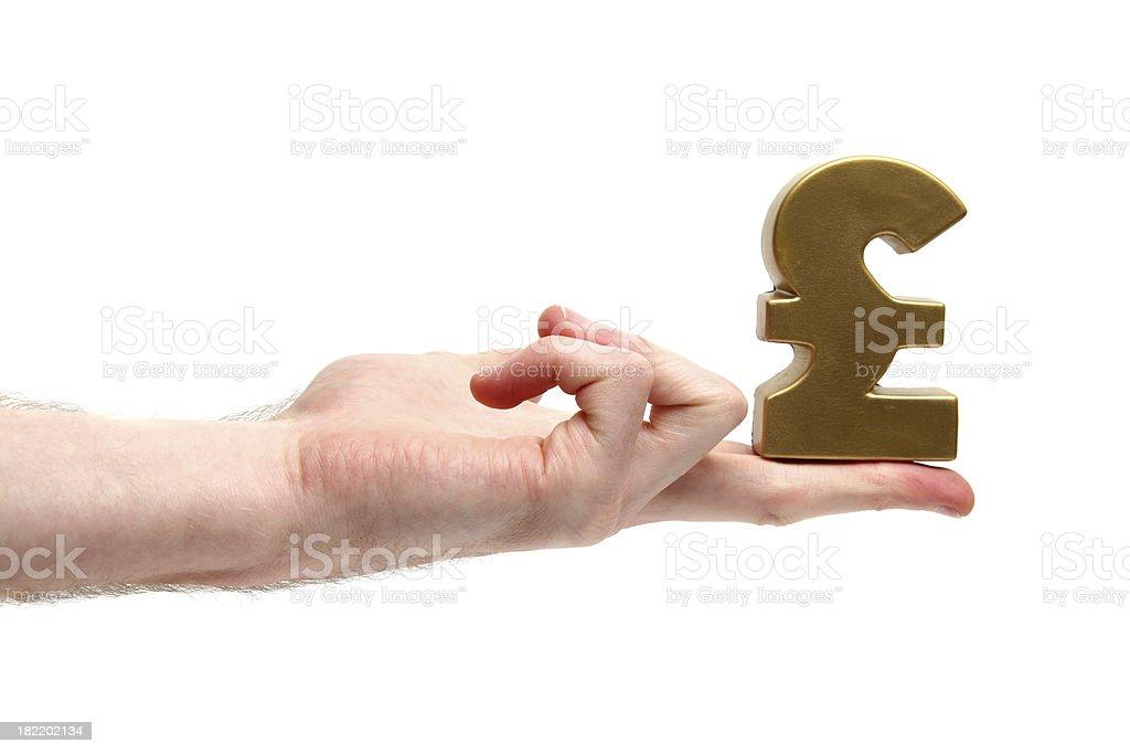 Holding Money Symbol stock photo