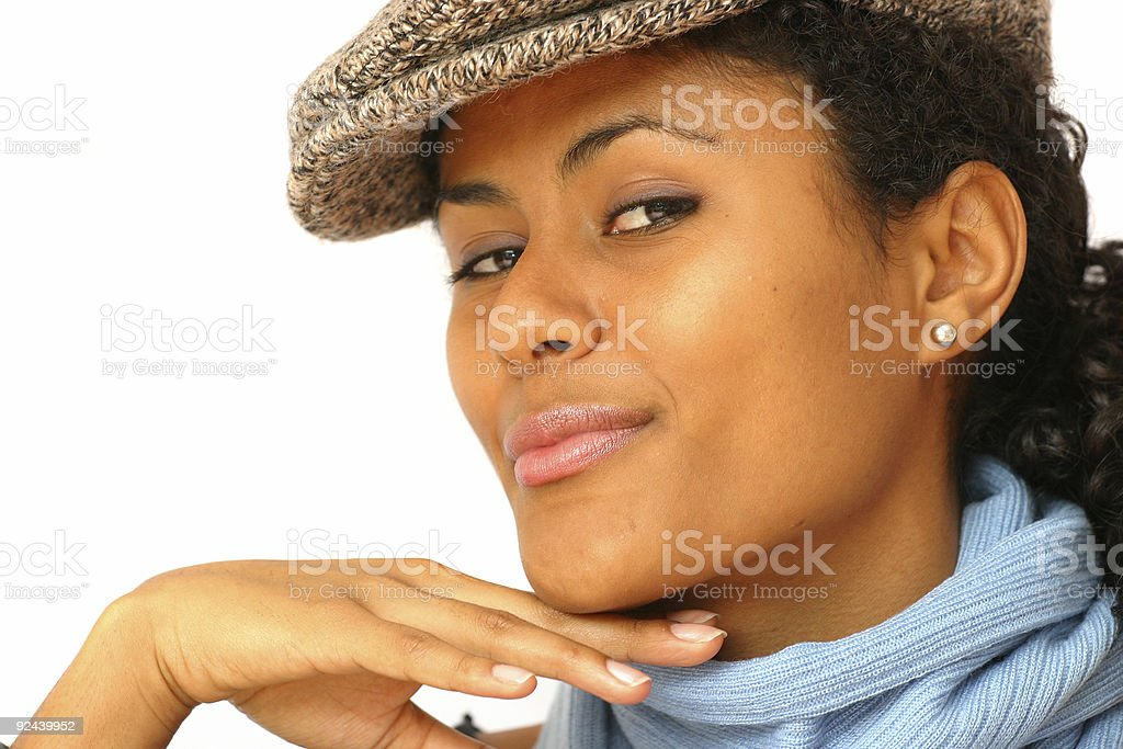 Holding my chin up royalty-free stock photo