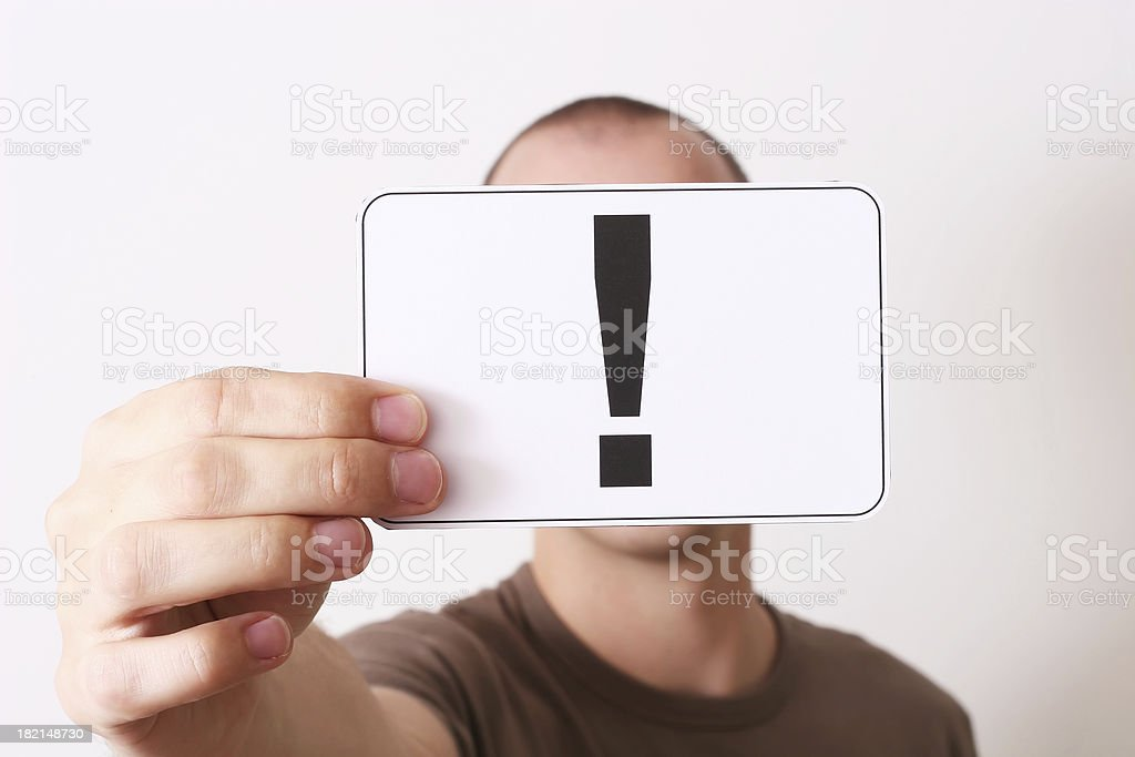 Holding note of exclamation stock photo