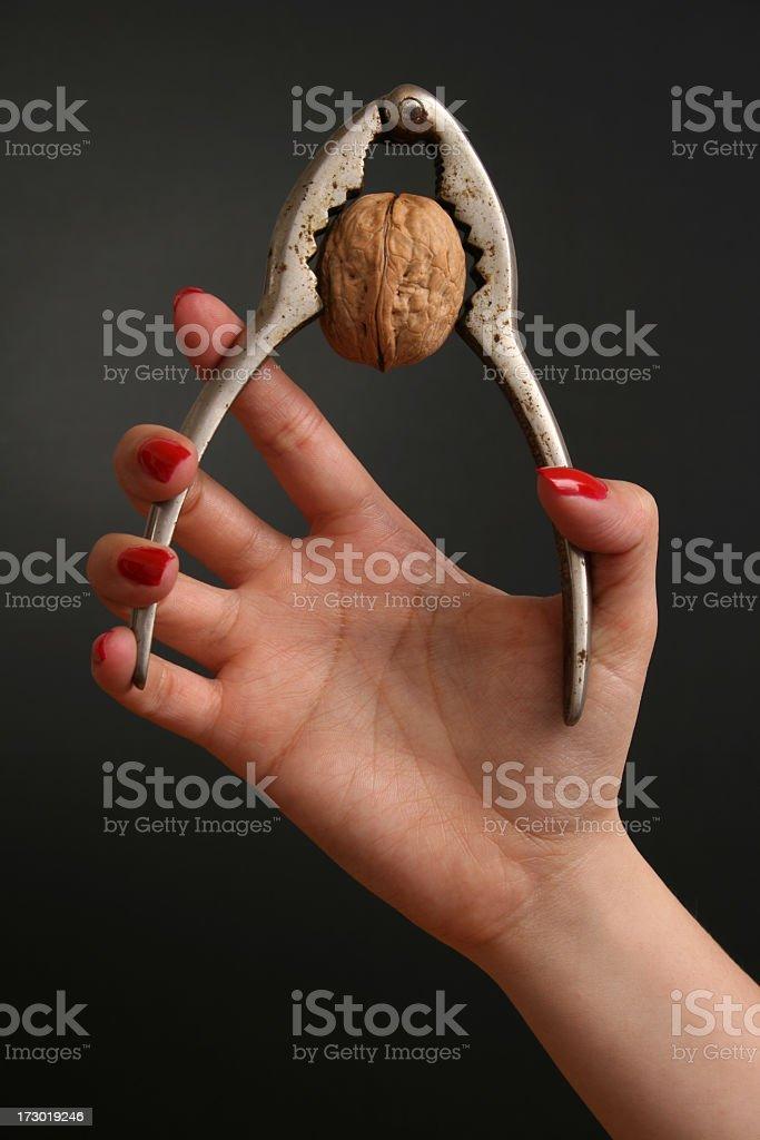 Holding nutcracker royalty-free stock photo