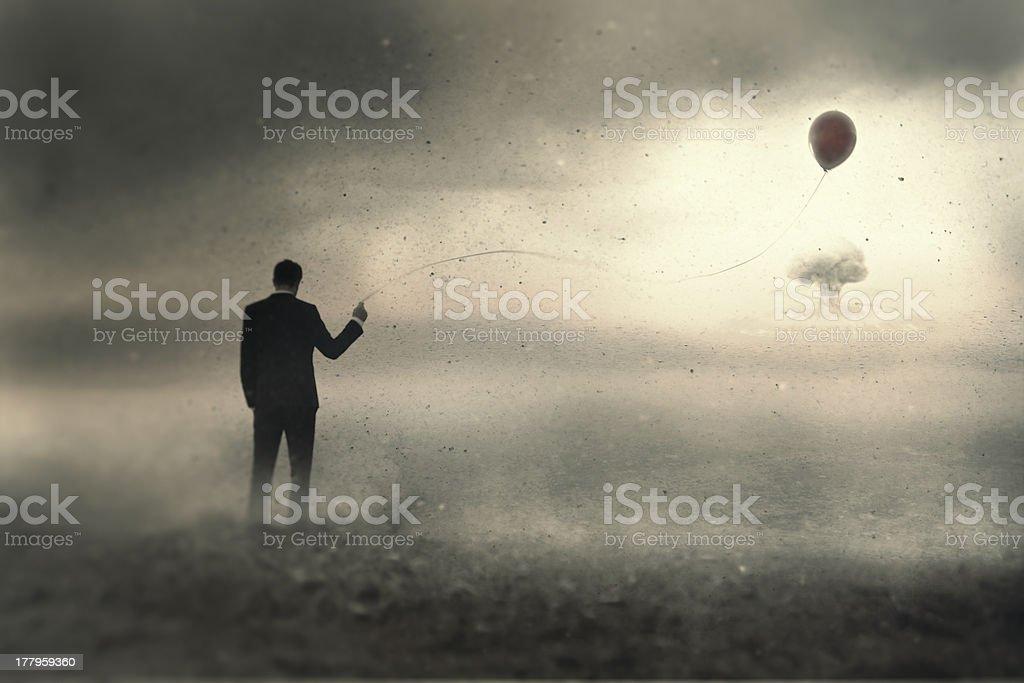 Holding onto one last hope stock photo