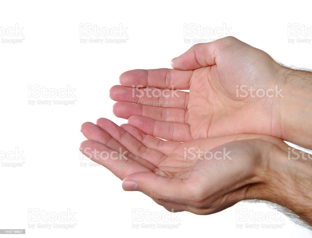 Holding or showing hand sign royalty-free stock photo