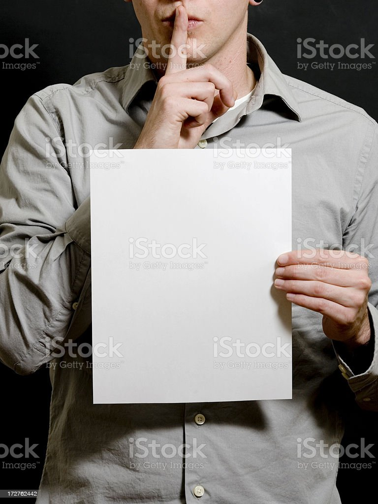 holding paper shhhhhhhh royalty-free stock photo