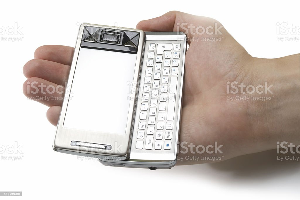 holding pda in human palm royalty-free stock photo