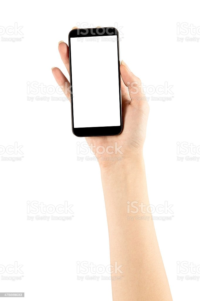 Holding Phone With Hand stock photo