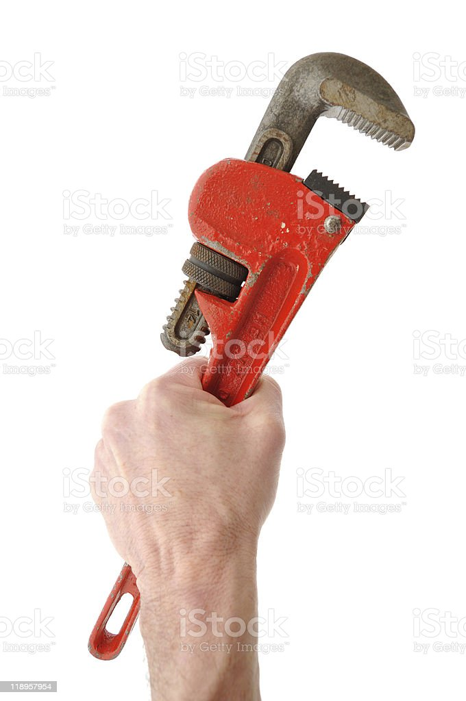 Holding Pipe Wrench in Hand stock photo