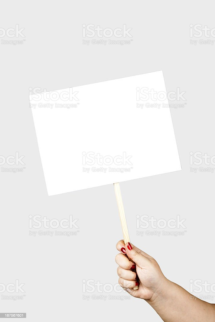 holding placard stock photo