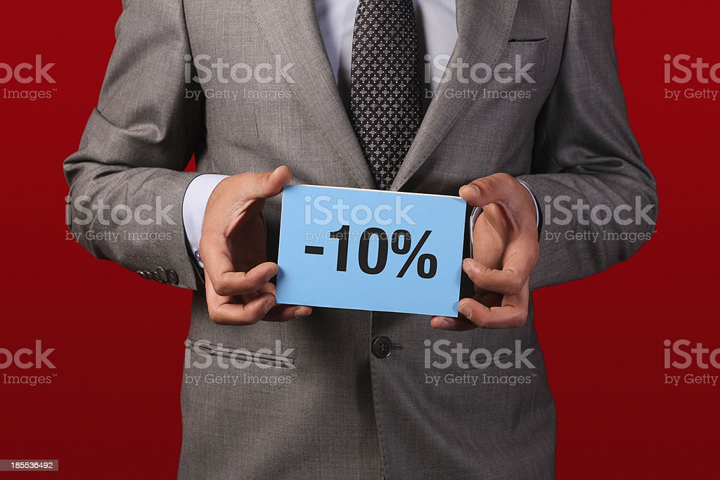 holding sale card royalty-free stock photo
