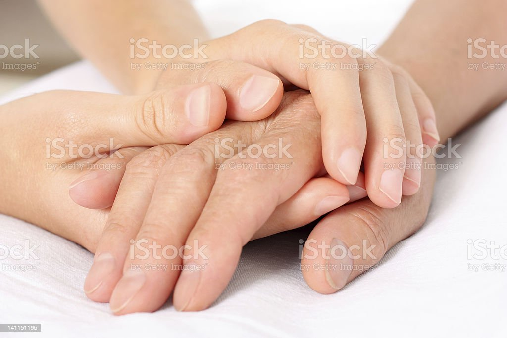 Holding senior hand giving help royalty-free stock photo