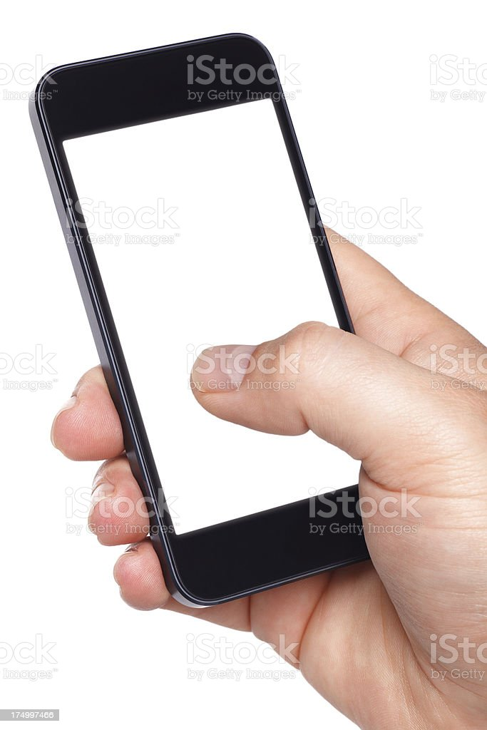 Holding Smartphone (clipping path) royalty-free stock photo