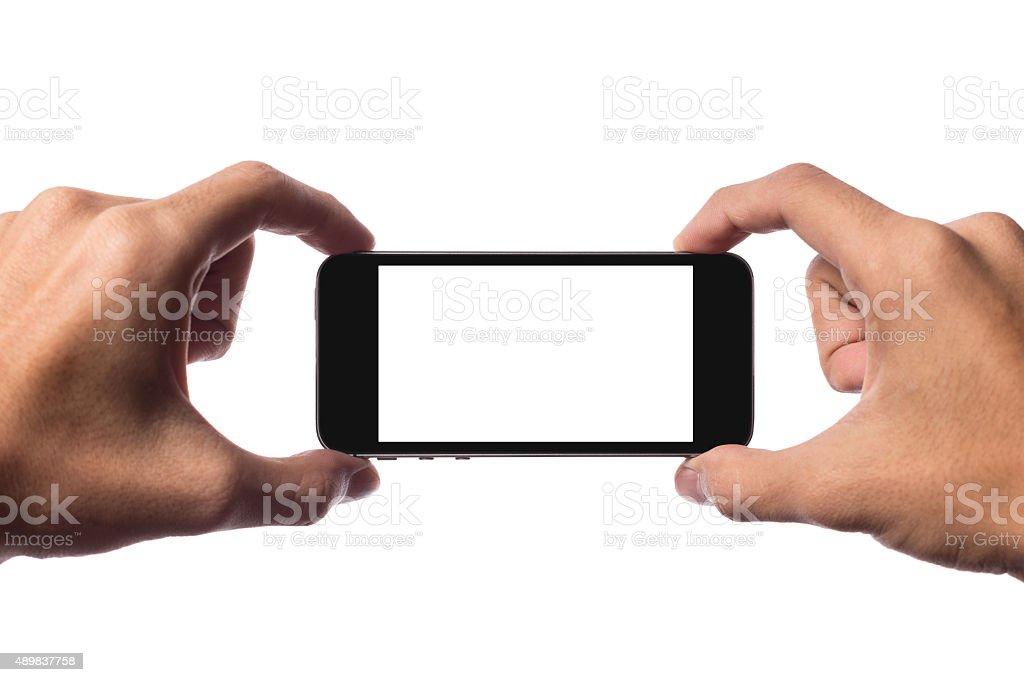 Holding smartphone stock photo