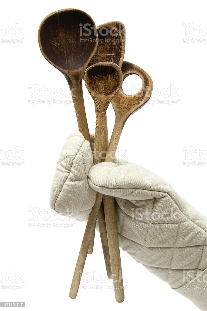 Holding Some Old Wooden Spoons stock photo