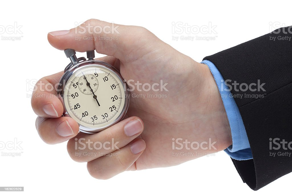 holding stop watch stock photo