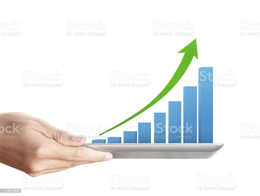 holding tablet with a graph royalty-free stock photo