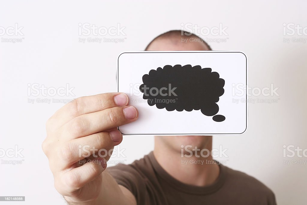 Holding text balloon royalty-free stock photo