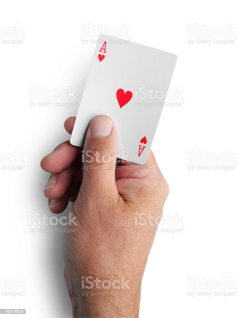 Holding the Ace of Hearts royalty-free stock photo