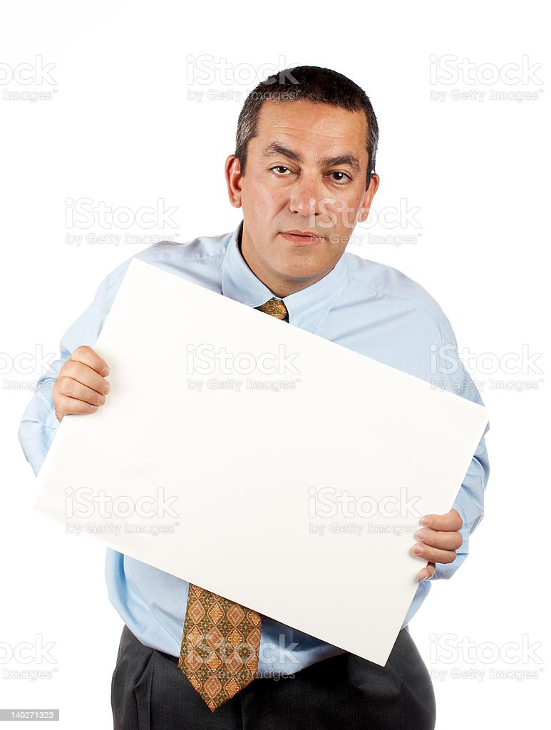 Holding the blank poster royalty-free stock photo