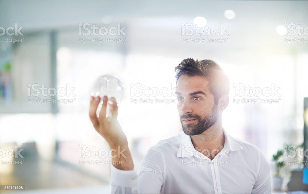 Holding the future stock photo