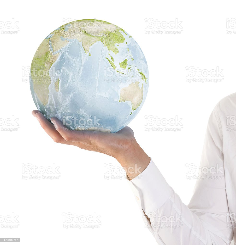 holding the glass globe royalty-free stock photo
