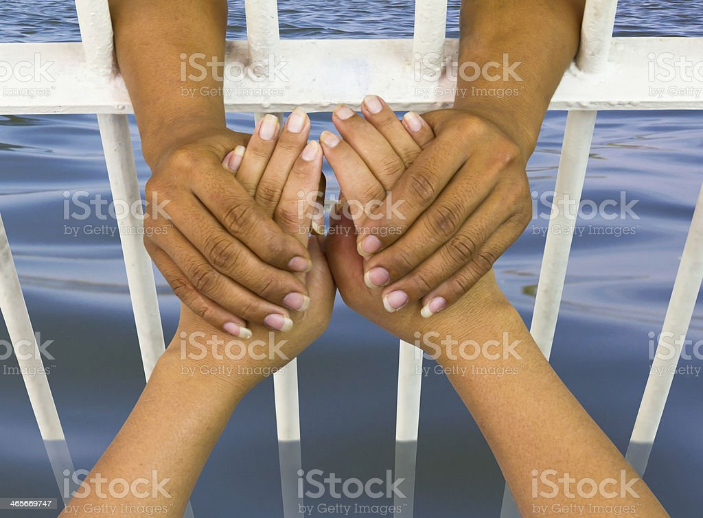 holding the hand flooding royalty-free stock photo