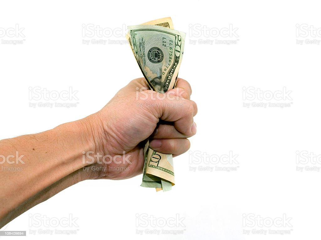 Holding the money royalty-free stock photo
