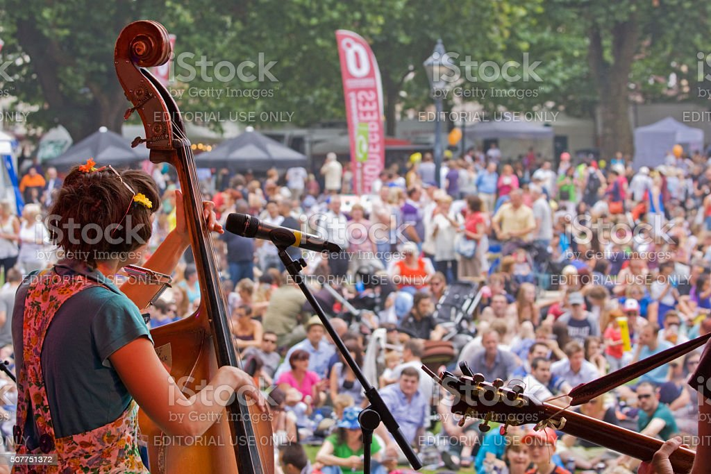 Holding the stage at the Bristol Harbour Festival UK stock photo
