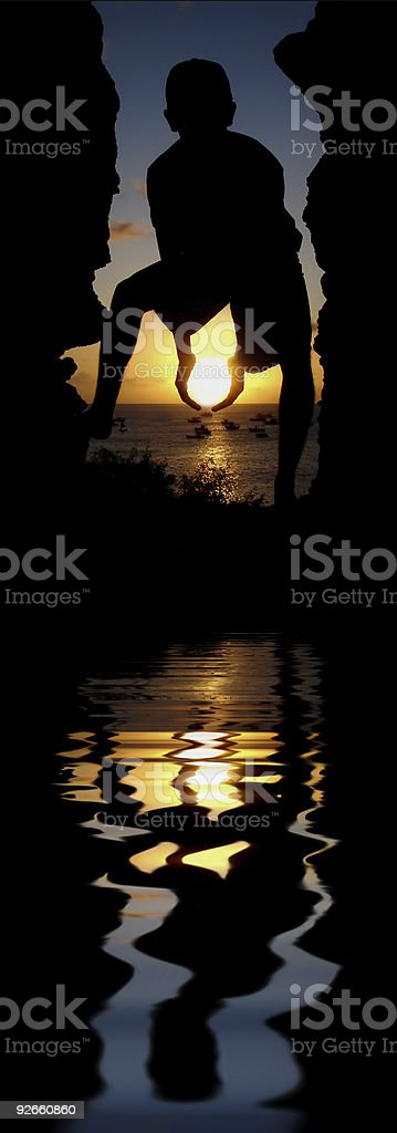 Holding the Sun royalty-free stock photo