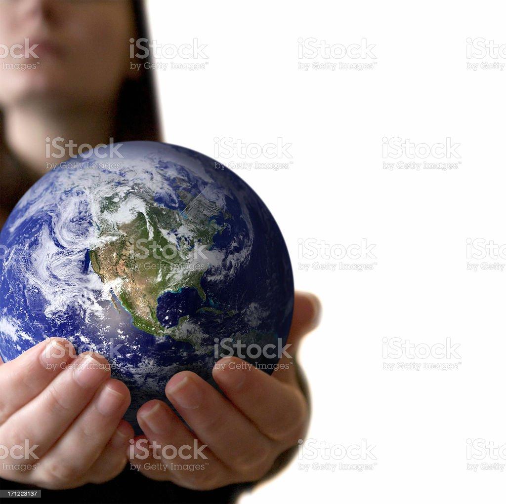 Holding the world royalty-free stock photo