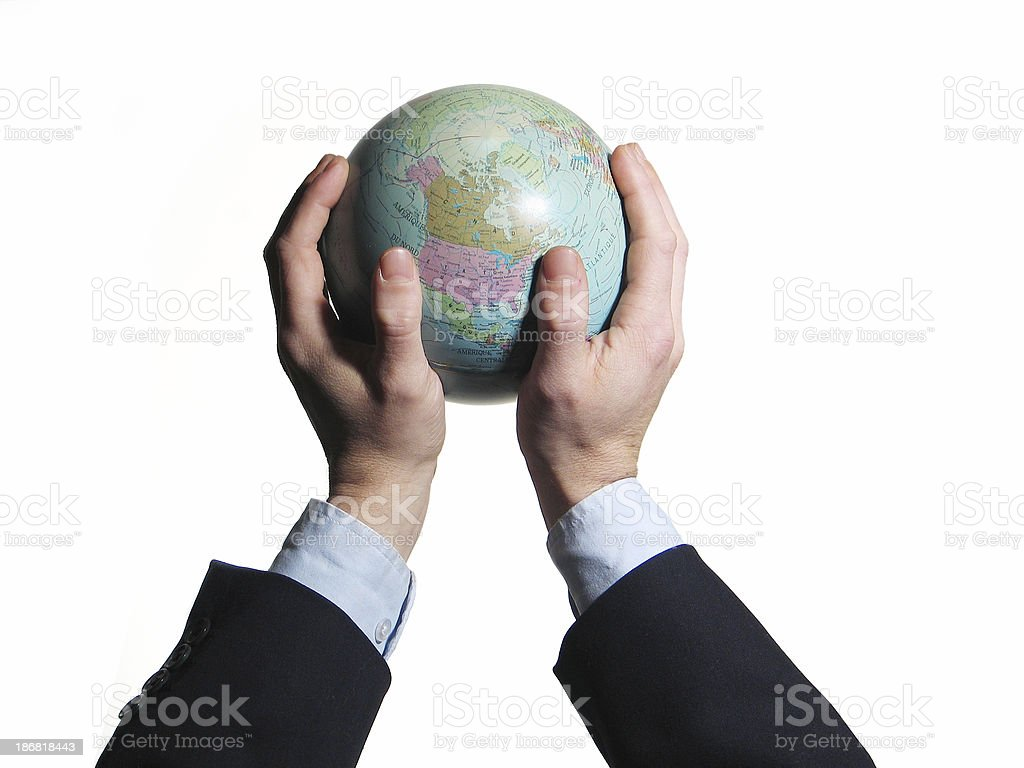 Holding the world royalty-free stock photo
