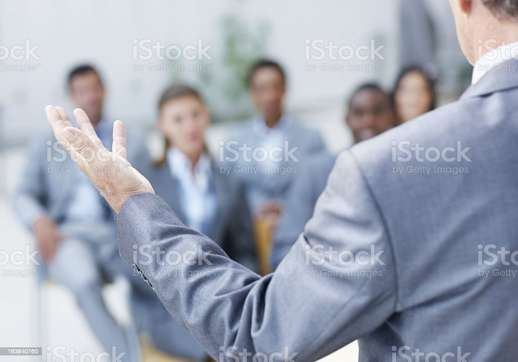 Holding their attention royalty-free stock photo