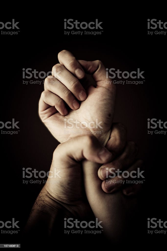 Holding tight stock photo
