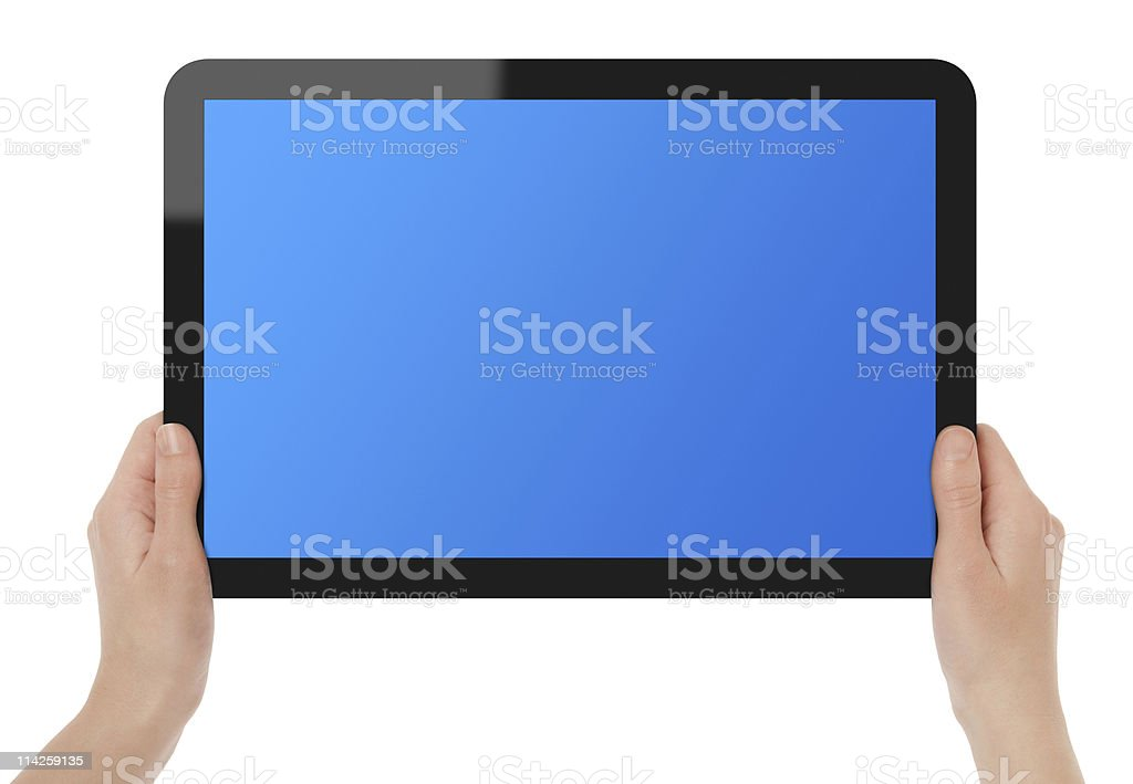 Holding Touch Screen Tablet PC royalty-free stock photo