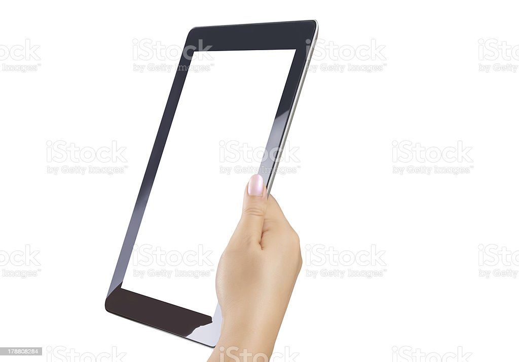 holding touch screen tablet royalty-free stock photo
