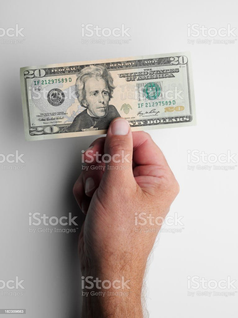 Holding Twenty American Dollars stock photo