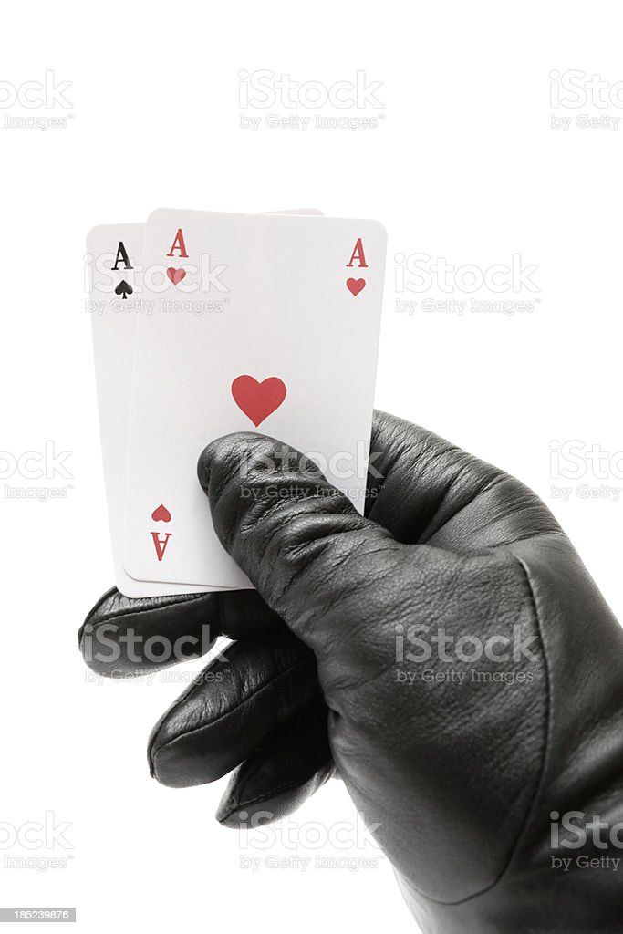 Holding Two Aces royalty-free stock photo