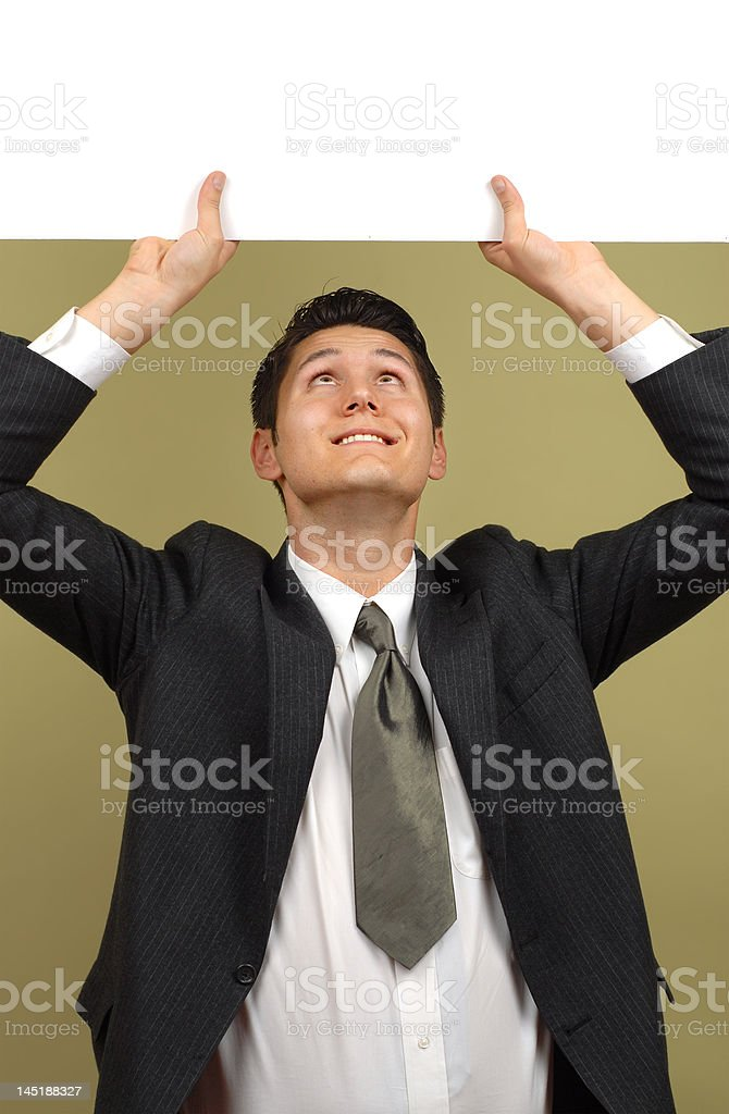 Holding up a sign royalty-free stock photo
